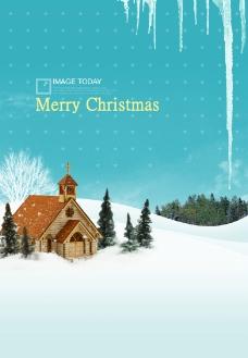 雪中小屋图片