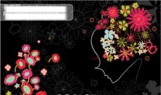 花人共和漂亮美女 节日素材 元旦 矢量图库 AI格式