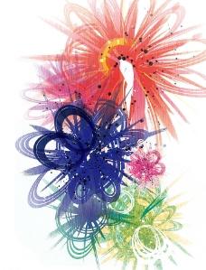 五彩花纹素材图片