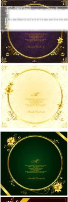华丽金色花边边框矢量素材-10