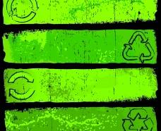 环保主题的怀旧风格banner背景矢量素材图片