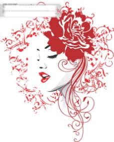 头顶花朵的美女