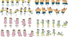 哆啦A梦主角动作表情图片