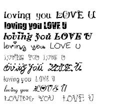带心的几款英文字体