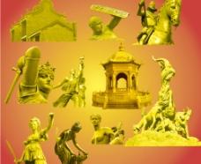 金色的雕像图片