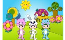 猪头兔头猫头面具小孩ai图片