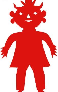 红色剪纸娃娃图片