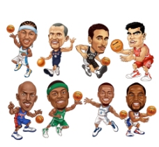NBA卡通分层高清油画图片