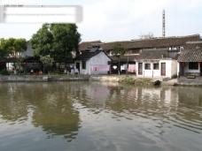 西塘风光 湖水 树 水中倒影 房子