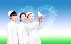 高清护士 白衣天使 天使 白鸽 爱心 心形图片