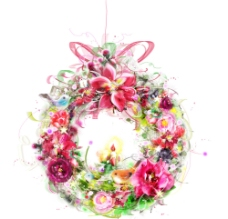 五彩花圈素材图片