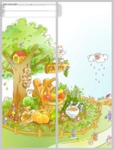 树下的果园移门图案设计