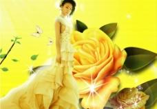 黄玫瑰与美女图片