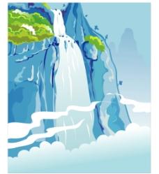 瀑布青山图片