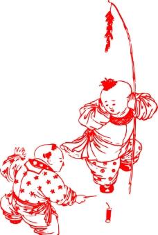 儿童放鞭炮图片