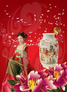 古典美女与瓷器图片